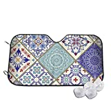 GuoJJ Ceramic Tile Colorful Patchwork Vintage Front Windshield Shade-Accordion Folding Auto Sunshade for Car Truck SUV-Blocks UV Rays Sun Visor Protector-Keeps Your Vehicle Cool-51.2 x 27.5 Inch