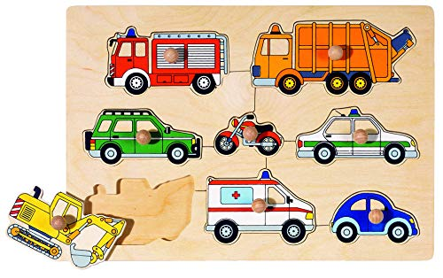 Goki- Puzzles de Madera Medios de Transporte, Encaje, Multicolor (57996)
