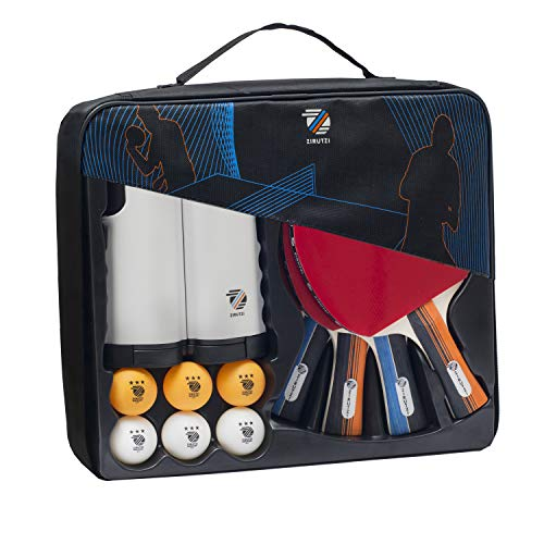 ZIRUTZI Table Tennis Set with Retractable Ping Pong Net – Table Tennis Paddles Set 4 Table Tennis Rackets  6 Ping Pong Balls  Premium Carrying Case  Complete Bundle Play Anywhere
