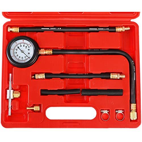 YSTOOL Fuel Injection Pressure Tester Gauge Kit 100PSI Car Gasoline Gas Engine Fuel Injector Pump Test Manometer Tool Set