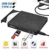Gincleey External CD DVD Drive, 2-Port Hub USB 3.0 with Type-C SD/TF Card Reader CD/DVD +/-Rw Drive ROM Rewriter Burner for Laptop Desktop MacBook Mac OS Windows 10 8 7 XP Vista