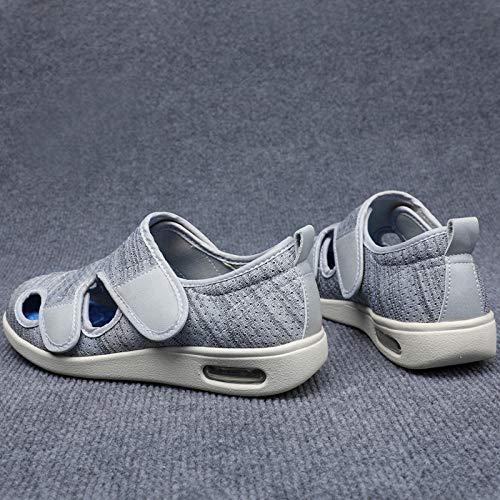 B/H Chaussures pour DiabéTiques pour Hommes,Chaussures Sandales pour Personnes âgées, Chaussures Pieds gonflés à Rabat Velcro-Fil Gris Clair_38,Chaussures DiabéTiques Hommes Chaussons