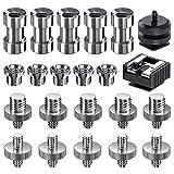 Camera Screw Kit, SDTC Tech 22 pcs Camera Hot Shoe Mount 1/4'-20 and 3/8'-16 Thread Tripod Screw Adapter Converter for Camera/Monopod/Ballhead/Light Stand etc.