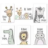 Juego de 6 pósteres decorativos para habitación de niños, niñas, bebés, imágenes DIN A4, sin marco, animales del bosque