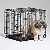 Dog Crate | MidWest I Crate 24' Double Door Folding Metal Dog Crate w/ Divider Panel, Floor Protecting Feet & Leak-Proof Dog Tray | 24L x 18W x 19H Inches, Small Dog, Black