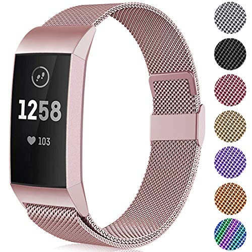 Faliogo Metal Replacement Strap Compatible with Fitbit Charge 3 Strap/Fitbit Charge 4 Strap, Adjustable Stainless Steel Wirst Band for Women Man, Small Rose Gold
