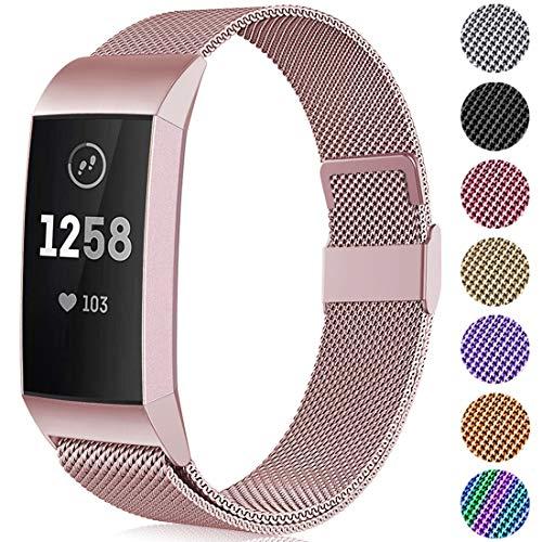 Faliogo Metall Ersatzarmband Kompatibel mit Fitbit Charge 3 Armband/Fitbit Charge 4 Armband, Einstellbare Edelstahl Ersatz Armbänder für Damen Herren, Klein Roségold