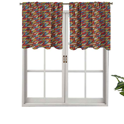 Hiiiman Sunshine Blockout Valance Curtain Hand Drawn Abstract Curvy Lines with Rainbow Colors Vintage, Set of 2, 54'x36' for Indoor Living Dining Room