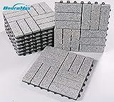 BodenMax LLGRA3H-GRY-5 Baldosas de Granito para terraza, jardines, balcones, piscinas, saunas, interiores y exteriores. Granito gris. Set de 8 baldosas de granito de 30 cm x 30 cm x 2,5 cm.
