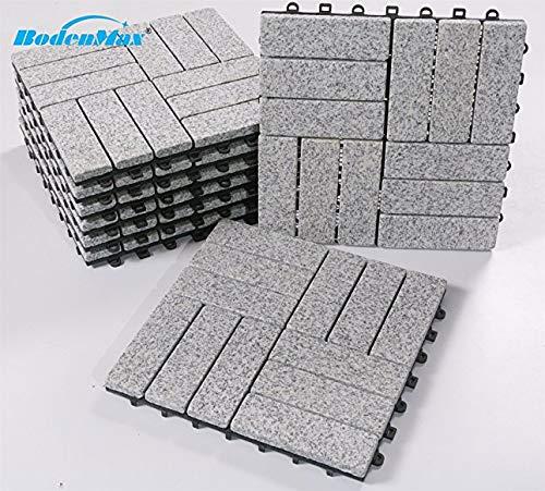 BodenMax graniet klik vloertegels set 30 x 30 cm terrastegels terrasplaat steen tegel kliktegels (8 stuks) Graniet-barok patroon