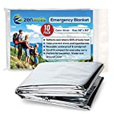 Emergency Blankets Pack of 10 - Mylar Thermal Solar Blankets for Maximum Protection - Keep Heat Out - Best for Your Survival Kit, Car Kits, Outdoors or First Aid