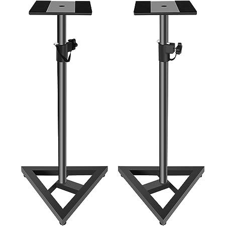 Doubleblack Soporte para Altavoces Home Cinema Pie Monitor Estudio Audio Altura Ajustable 76-137 cm Base Stand Metal 2 Piezas Negro