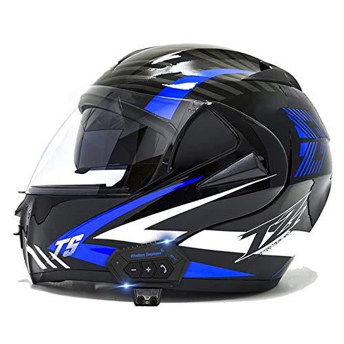 Modular Casco de Moto Bluetooth, Casco de Motocicleta Integrado con Doble Visera para Motocicleta Scooter, ECE Homologado Casco de Moto para Adultos (Color : I, Size : M(57-58CM))