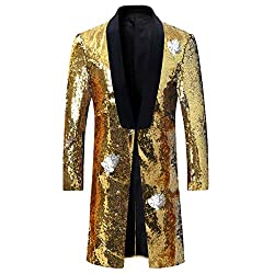 Gold - Silver Slim Fit Shiny Sequin Blazer