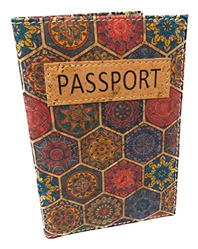 Funda Pasaporte Cartera Viaje Moda Corcho SOSTENIBLE 100 x 100 Estampados étnicos (Vidriera Gotica)