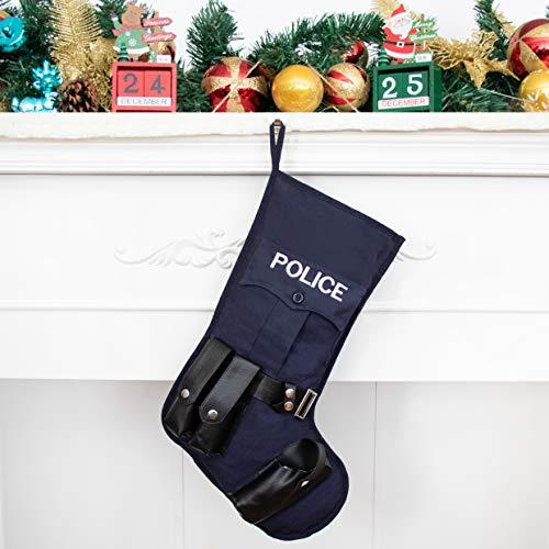 Beyond Your Thoughts Taktisch Nikolausstrumpf Weihnachtsstrumpf Deko Kamin Polizei Polizist Christmas Stocking Nikolausstiefel zum Befüllen und Aufhängen Groß Ideale Weihnachtsdekoration