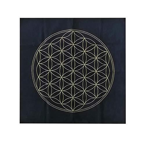 Maril Altar Tarot Tischdecke Robuster Schwarzer Stoff Quadrat Die Blume Des Lebens Kristallgitter 50 X 50 Cm value