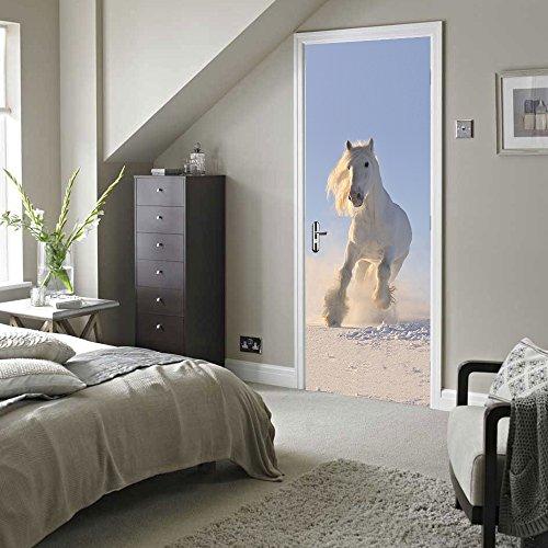 Rocwart 3D Deur Muursticker Wit Paard voor Woonkamer Kinderen Baby Kinderen Verwijderbare Vinyl Muursticker Art Home Decoratie 30.3x78.7 Paard