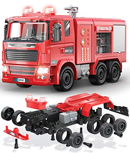Take-Apart Fire Truck - 99 Pcs STEM Toys Build Your Own Fire Engine-DIY Building Assembly Kit w/ Realistic Lights and Sounds - Educational Gift Idea for Kids Ages 5 6 7 8 9 Years Old