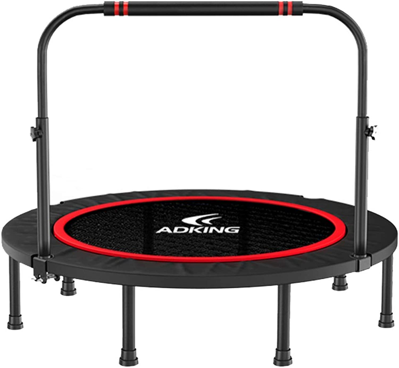 LXLA  50  Mini Fitness Trampoline for Adults, Adjustable Handrail & 8 Supporting Legs, Black(Max Limit 350 kg )