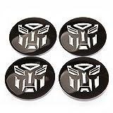 INCART Car Wheel Hub Centre Cover Stickers Original Car Tire Pack Mark Sticker Paster Transformers Autobots Fashion Black Φ5.6cm 4Pcs/set