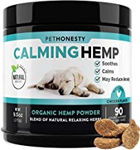 PetHonesty Hemp Calming Treats for Dogs - All-Natural Soothing Snacks with Hemp + Valerian Root, Stress & Dog Anxiety Relief- Aids with Thunder, Fireworks, Chewing & Barking (Chicken, 90ct)