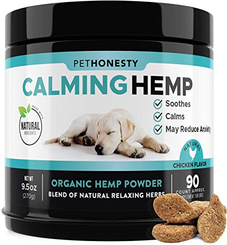PetHonesty Hemp Calming Treats for Dogs - All-Natural Soothing Snacks with Hemp + Valerian Root, Stress & Dog Anxiety Relief- Aids with Thunder, Fireworks, Chewing & Barking (Chicken, 90ct) 40% Birthday Dog first Food Healthcare Pet Relaxants sns Supplies