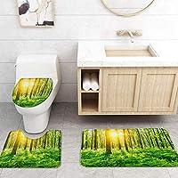 ZGDPBYF 浴室用アップホームバスマットフォレストグラスランドサンシャインツリープリントバスマットシャワーフロア用カーペットバスタブマット