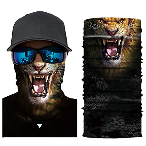 LOOVEE 3D Halstuch Kopftuch, Radfahren Herren Männer Loop Rundscha, Multifunktionstuch Herren Sommer, 3D Tiere Halstuch Mundschutz Totenkopf Halloween Hooligan Horror Schlauchtücher (AC032)