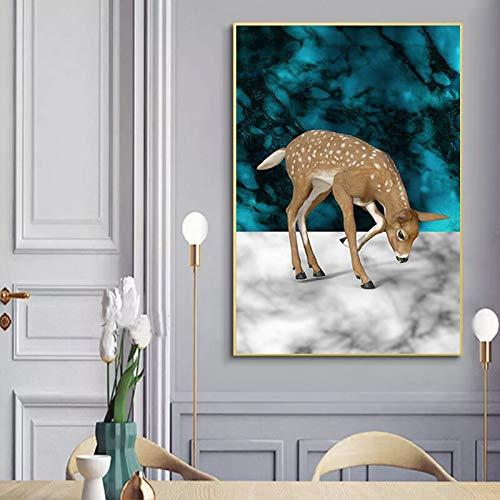 BuhuAZXM hert dierenfoto's canvas schilderij muurkunst voor woonkamer modern decoratief beeld 30X40CM Geen frame.