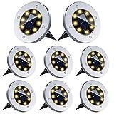 BOZHZO Luces Solares para Exterior Jardin, Luz Solar Exterior 8 LED Lámparas Solares para Jardin impermeabilidad IP 65 para Terraza, Calzada, Césped, Escalón, Escalera(Blanco Cálido 8 Piezas)