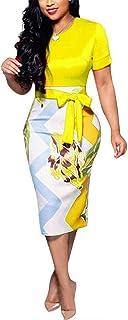 Women' Short Sleeve Bodycon Dress - Cute Bowknot Floral Pencil Dress
