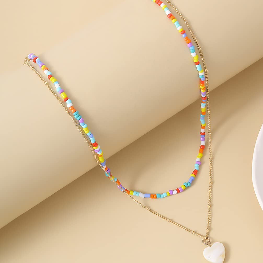 Necklace Jewelry Beaded Necklaces Love Heart Pendant Neck Chain Bohemian Beads Choker Neck Decorations Jewelry for Women Girls Ladies