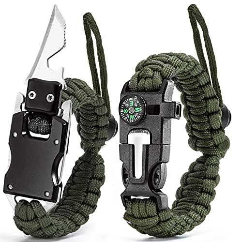 Adjustable Paracord Bracelet Knife,Personal Outdoor Survival Gear,Flint Fire Starter,Whistle,Compass,Scraper,Multi-tool Tactical EDC Bracelet Camping Hiking Gear Set of 2