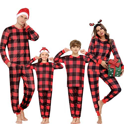 Herren Weihnachten Langarm Schlafanzug Familie Weihnachts-Pyjama Baumwolle Nachtwäsche für Herren Rot XXL