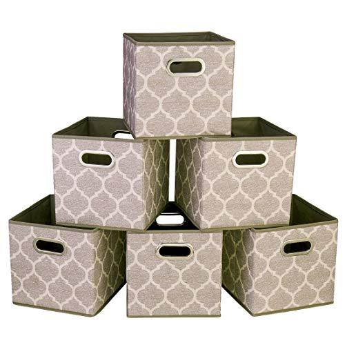 i BKGOO Cajones de almacenamiento grandes plegables Juego de 6 cajones de tela Cubos Organizador de cestas con asas metálicas dobles para estantería Gabinete Librería Farol gris-marrón 26.5x26.5x28 cm