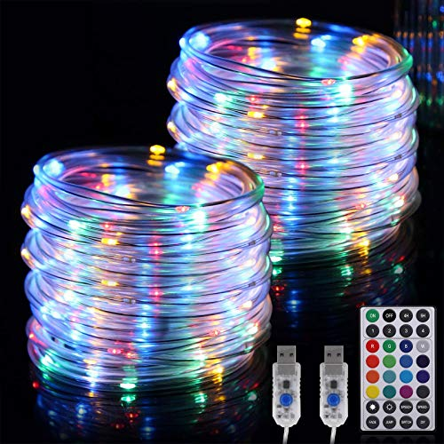 RundA Rope Lights, 2 Pack 33 FT 100 LEDs Fairy String Lights with Remote Control, 16 Colors Changing Brightness Adjustable String Lights for Outdoor Indoor Christmas Decorations Bedroom