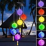 Achort LED Solar Wind Glockenspiel, Lichtsteuerung Regensichere Farbwechsel Gartenlampe, Romantische Windspiel Lampe Mit Haken Für Hängelampe Dekoration Von Terrasse/Gartenparty/Baum