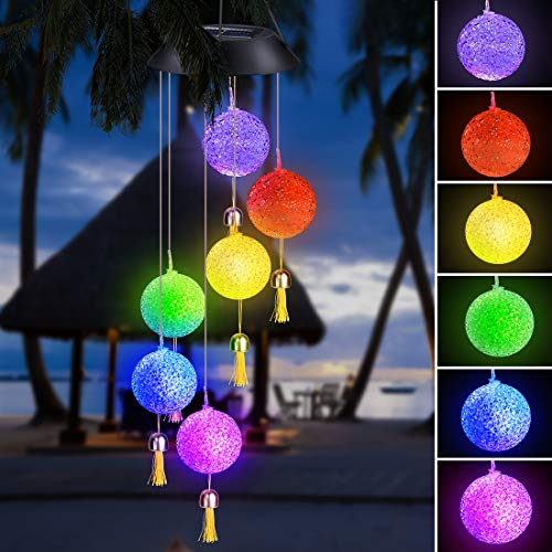 Achort Solar Wind Chime, Crystal Ball Wind Chime Color Changing LED Mobile Wind Chime Outdoor Hanging Patio Lights Decorative Romantic Wind Bell Light for Yard Garden Home with Hook