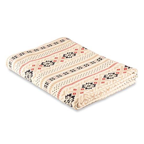 casa pura Wohndecke AVA mit Schneeflocken Muster | schadstoffgeprüft | kuschelige Decke aus Baumwolle | Größe wählbar (150x200 cm) Baumwolldecke - Kuscheldecke