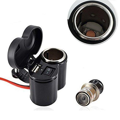 Etanche Prise Allume Cigare Chargeur Avec Câble 120CM, Adaptateur de Prise USB Pour Voiture Moto Véhicule 12V / 24V, Chargeur de Téléphone Portable