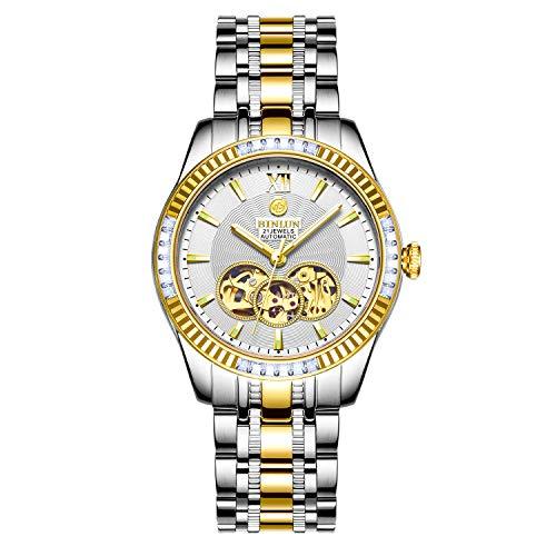 BINLUN Uomo argento oro automatico orologio impermeabile luminoso quadrante bianco scheletro orologi per gli uomini