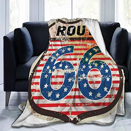 SURERUIM Manta De Tiro De Lana Suave,Route 66 Retro Popular American Road Trip Sign con bandera estrellas Diseño de viaje nacional,home hotel Sofá cama Sofá Mantas para parejas Niños Adultos,150x200cm