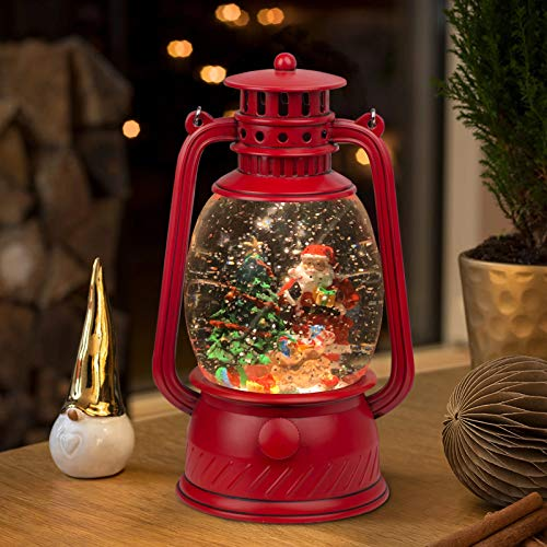 TIJNN Snow Globe Lantern Water Sparkling Santa Claus and Christmas Tree Scene, Battery and USB Powered Home Decoration Lights Birthday
