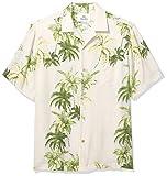Amazon Brand - 28 Palms Men's Relaxed-Fit Silk/Linen Tropical Hawaiian Shirt, Natural/Green/Blue Tree, Medium
