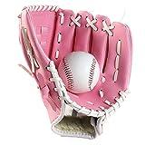 Liadance 1pc Deportes Béisbol Y Softbol Guante Profesional De Béisbol Y Softball Mitt con Soft PU Sólida Engrosamiento De Piel Jarra para Niños Y Adultos (Rosa, 9.5inch)