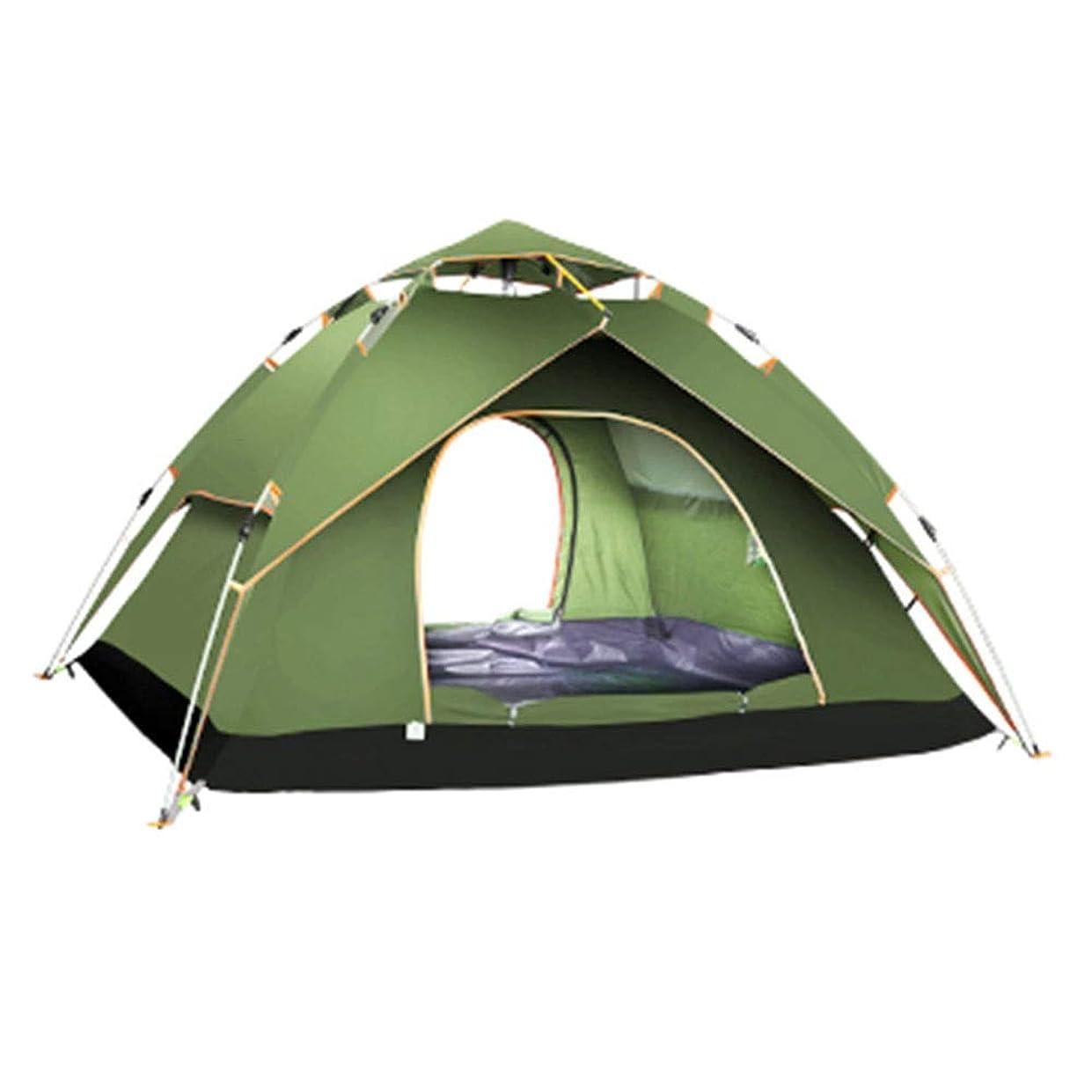 パンダインターネット尊敬するZR 二重層三連四季テント屋外3-4人全自動家庭用防雨肥厚キャンプテントキャンプグリーンブルーグレーグリーン (色 : ブロンズ)
