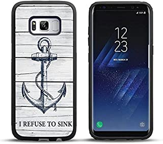 Samsung S8 Case Wood Grain Navy Anchor I Refuse to Sink, DOO UC Laser Technology for Protective Case for Samsung Galaxy S8 Black