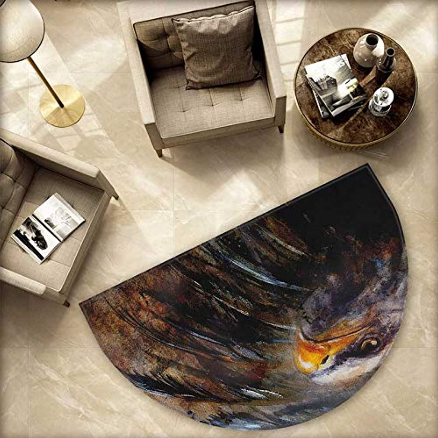 Eagle Semicircle Doormat Painting Style Bird with Black Feathers on Abstract Backdrop Symbol of USA Halfmoon doormats H 78.7  xD 118.1  Brown Black orange