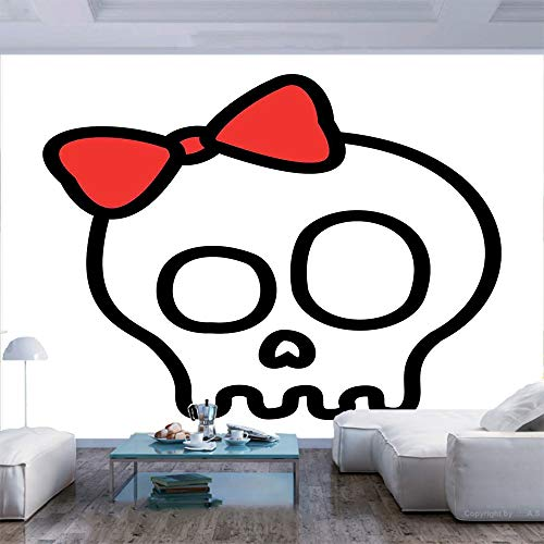 77x30 inches Wall Mural,Illustration of Baby Skull Girl with Lace and Halloween Dead Head Teen Emo Art Peel and Stick Self-Adhesive Wallpaper Removable Large Wall Sticker Wall Decor for Home Office